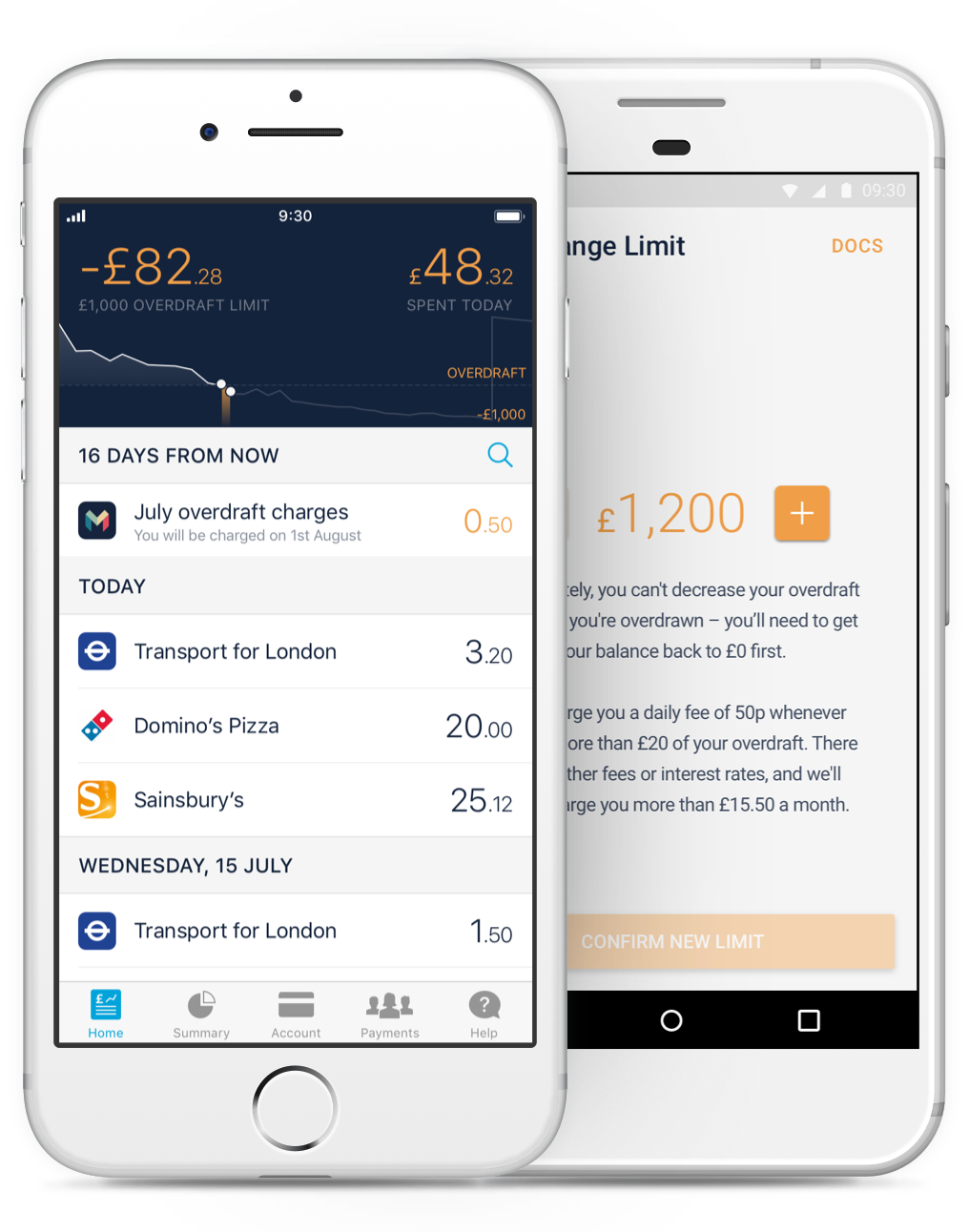 Monzo app home feed with overdraft information