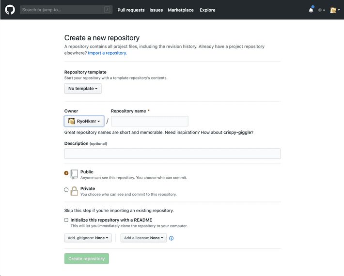 Fill the inputs about your new repository