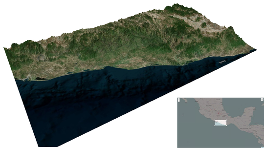 3D terrain of the Costa Chica de Guerrero and Oaxaca