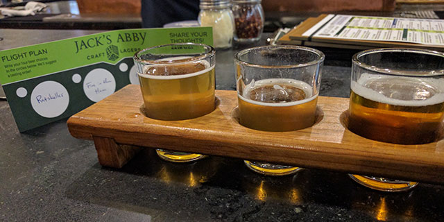 Samples of Jack's Abby beer (flight)