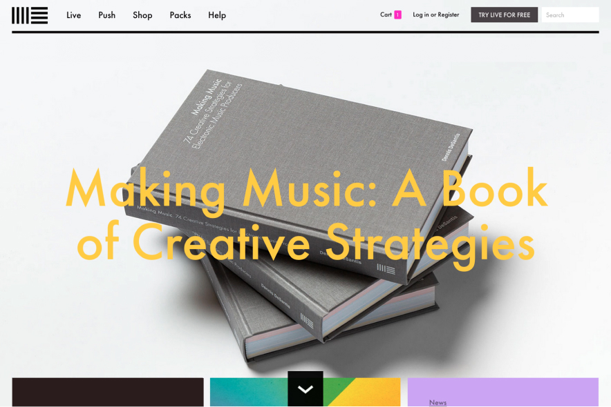Home page of a redesigned Ableton.com