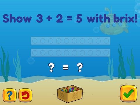 Basic addition up to 5 using brix Math Game