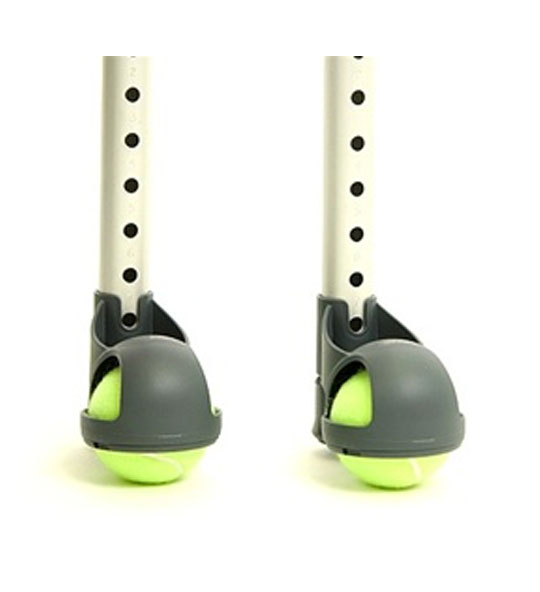 two tennis balls on walker legs, with a specially-designed attachment to hold the balls onto the leg, despite their ill fit as an adaptation.