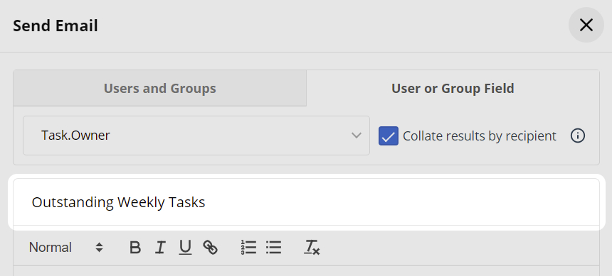 Workflow Email Subject Text box