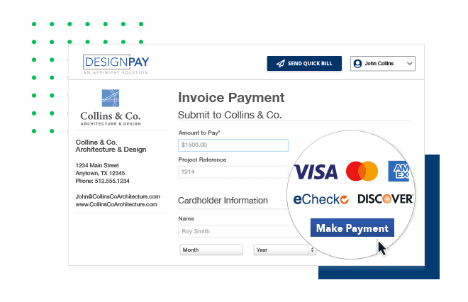 Personalized payment page with your association's logo and contact information accepts Visa, Mastercard, American Express, and Discover