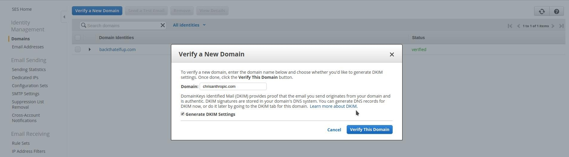Verify a New Domain