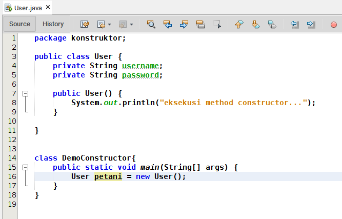 Example constructor in Java