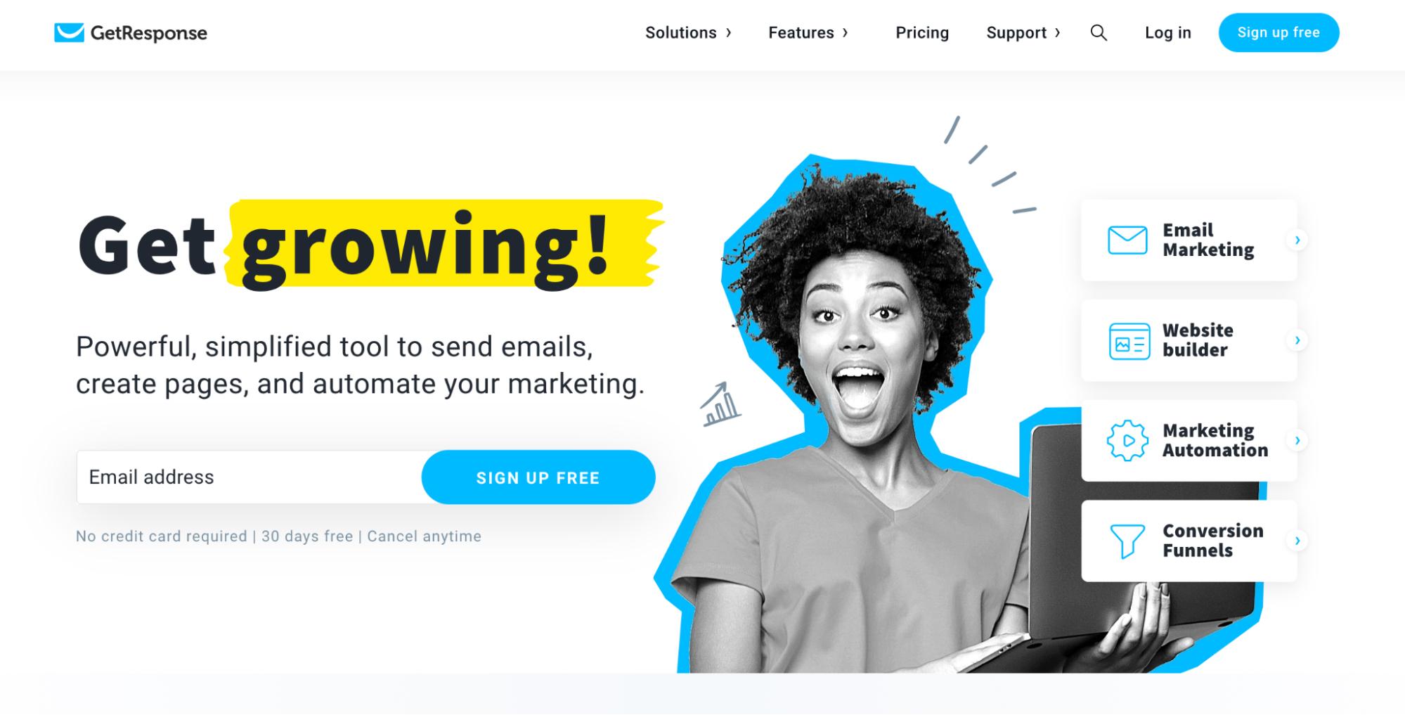 Mailchimp Alternatives: GetResponse Screenshot