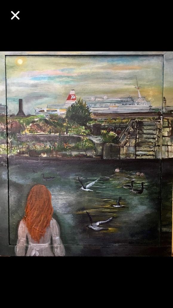Artist Alice Lenkiewicz paints Waterloo dock