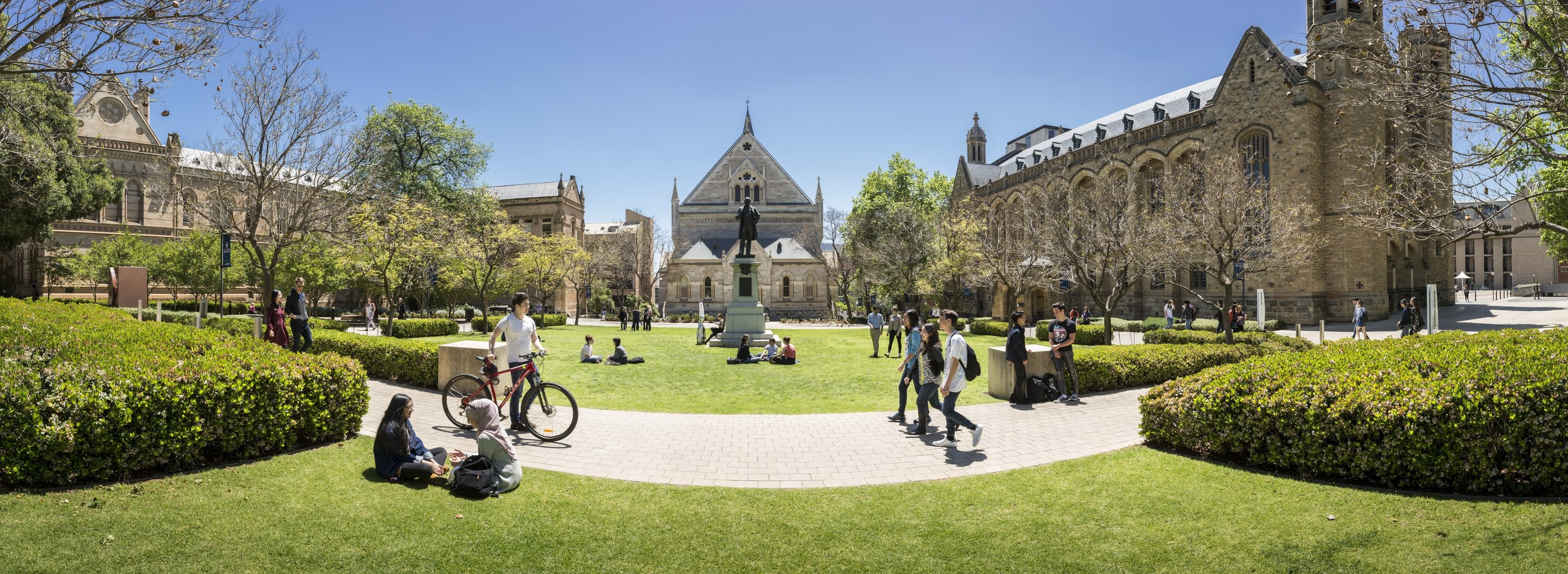 Campus and quad view with students of the University of Adelaide