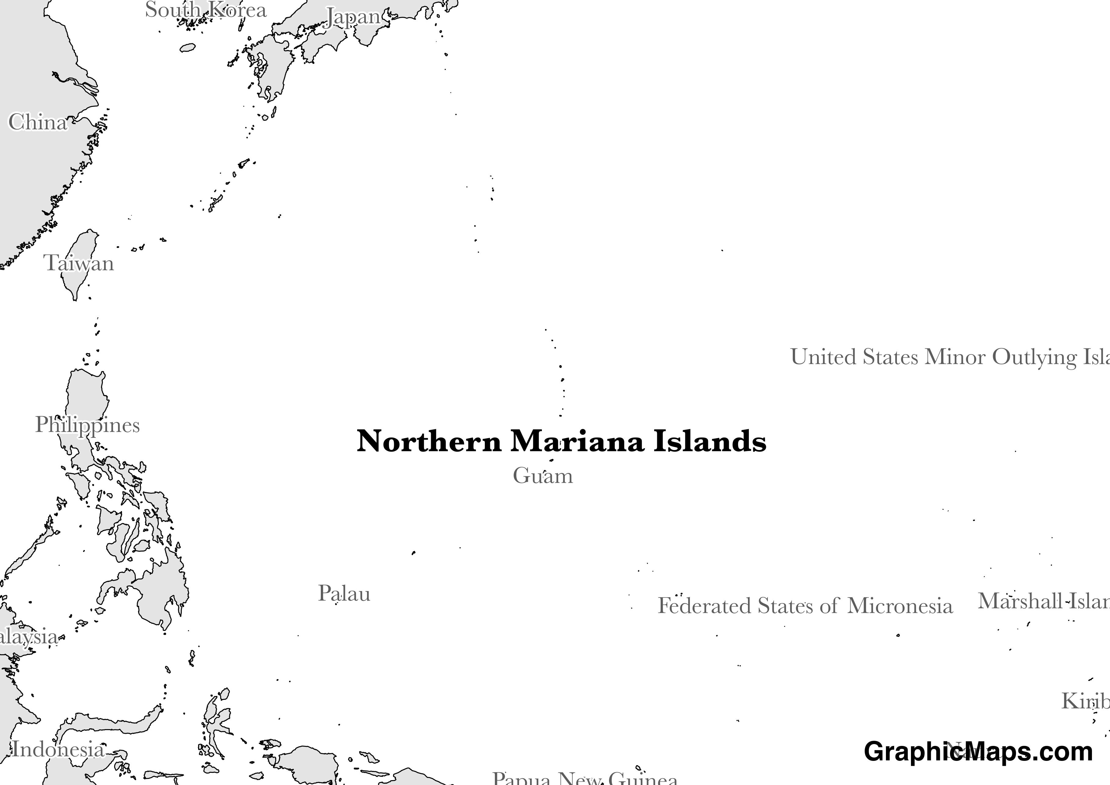 Map showing the location of Northern Mariana Islands