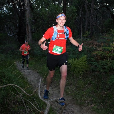Ross running the 2016 Afterglow Trail twilight half marathon on Victoria'a Surf Coast