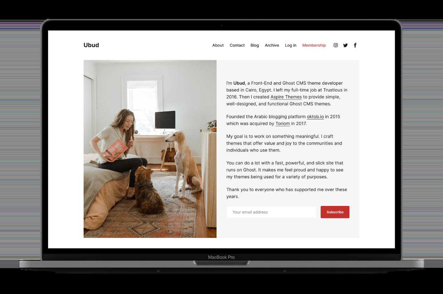 Ubud Ghost CMS Theme Home Image Default