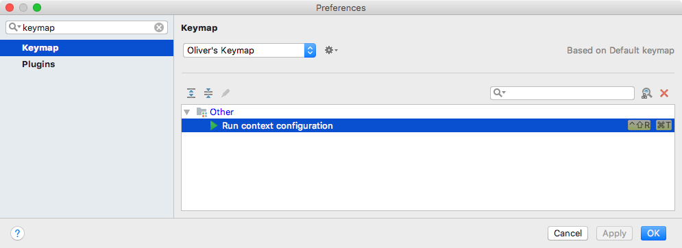 Adding a keyboard shortcut to run the current test