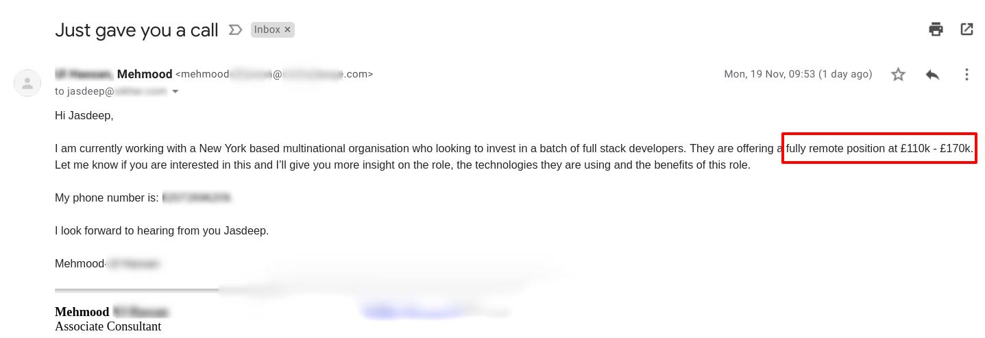 Gmail Job Offer