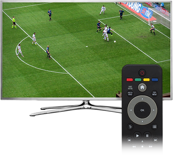 TV with remote showing soccer game