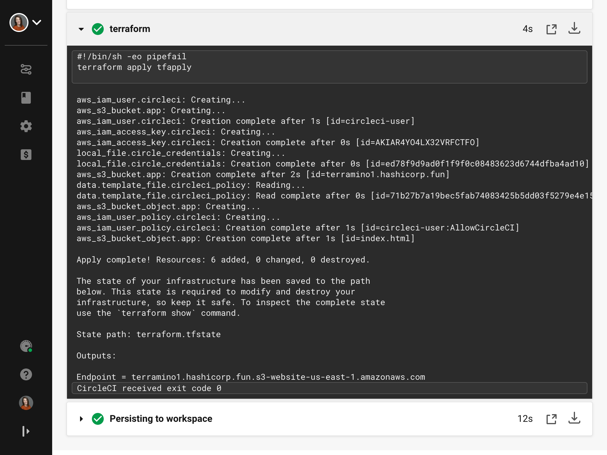 Job output in CircleCI web UI