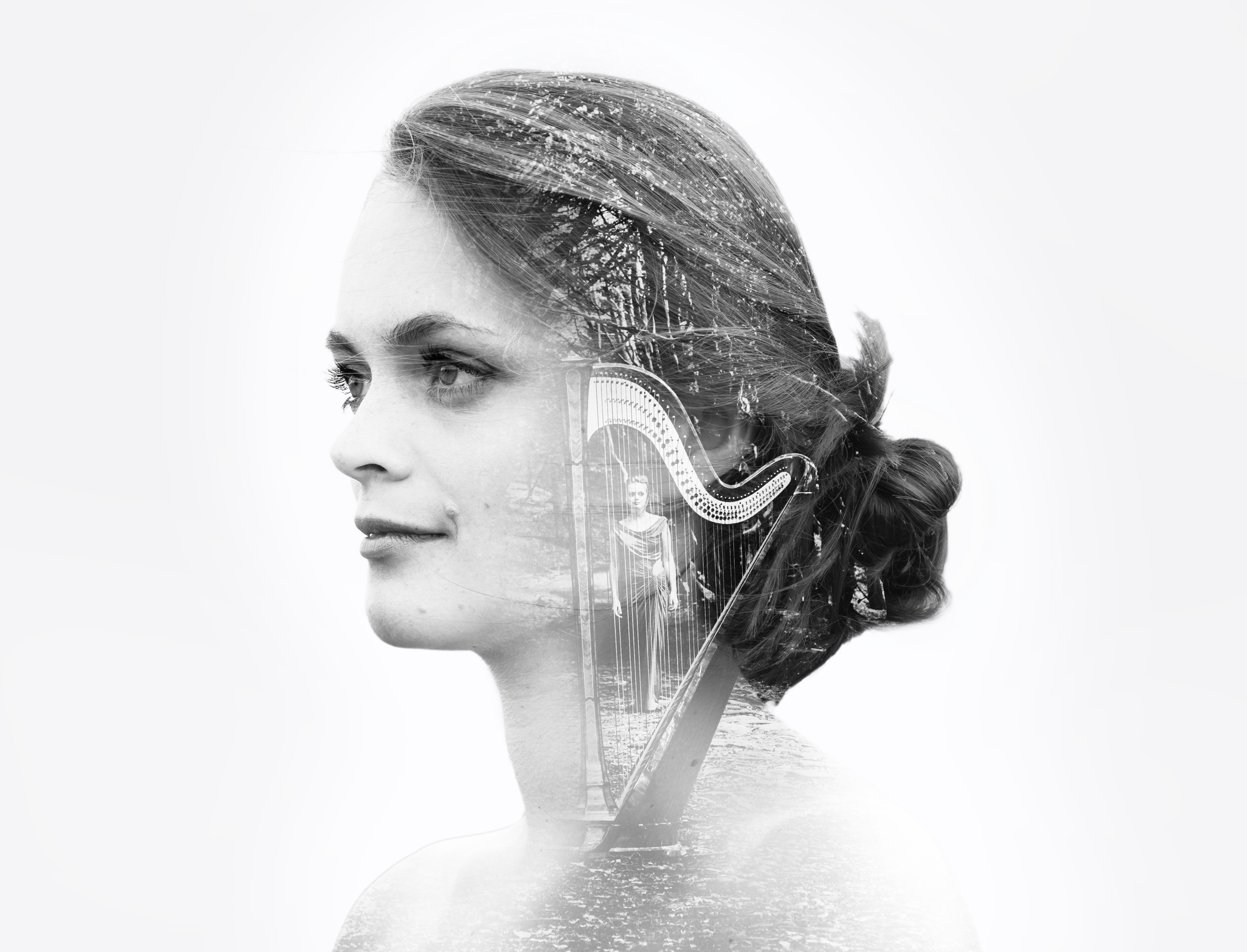 Dreamy and surreal double exposure imagery and photography by Jack Watkins for award-winning classical musician and harpist, Lucy Nolan