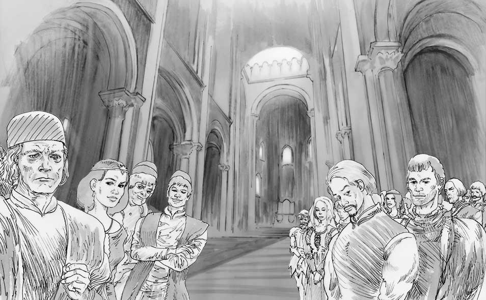 Atoleiros 1384 animatic — Nobility in the Cathedral of Lisbon — Storyboard