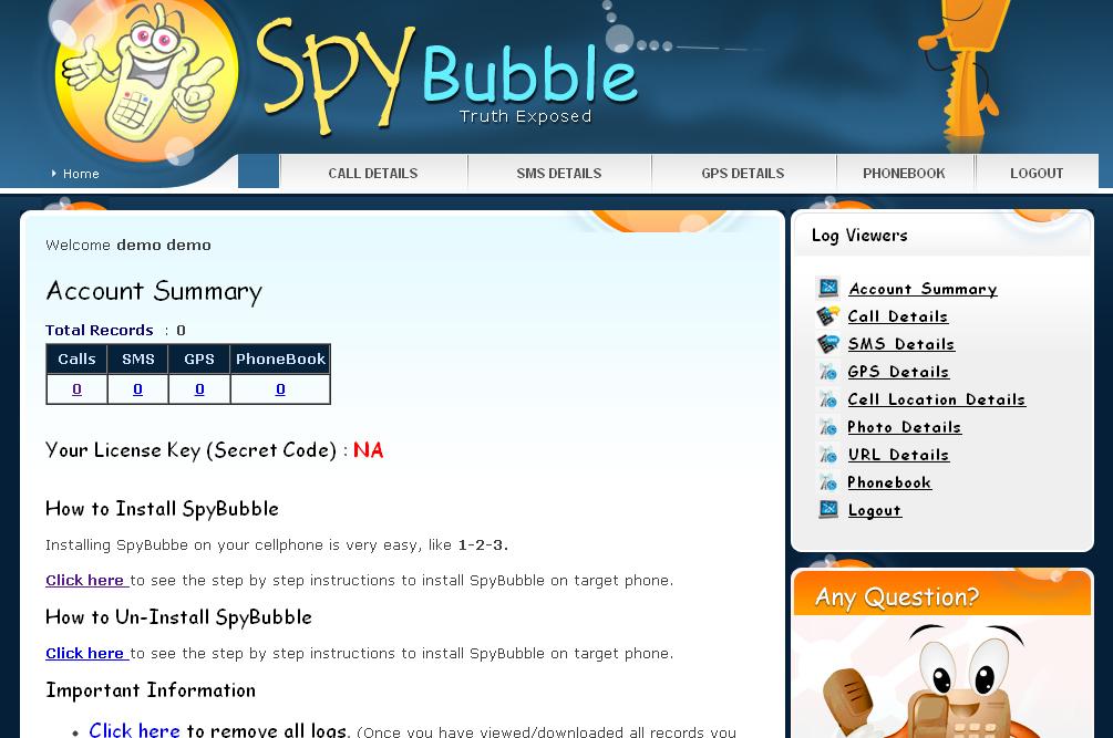 Aplikasi SADAP HP dengan SpyBubble - Dashboard Monitoring
