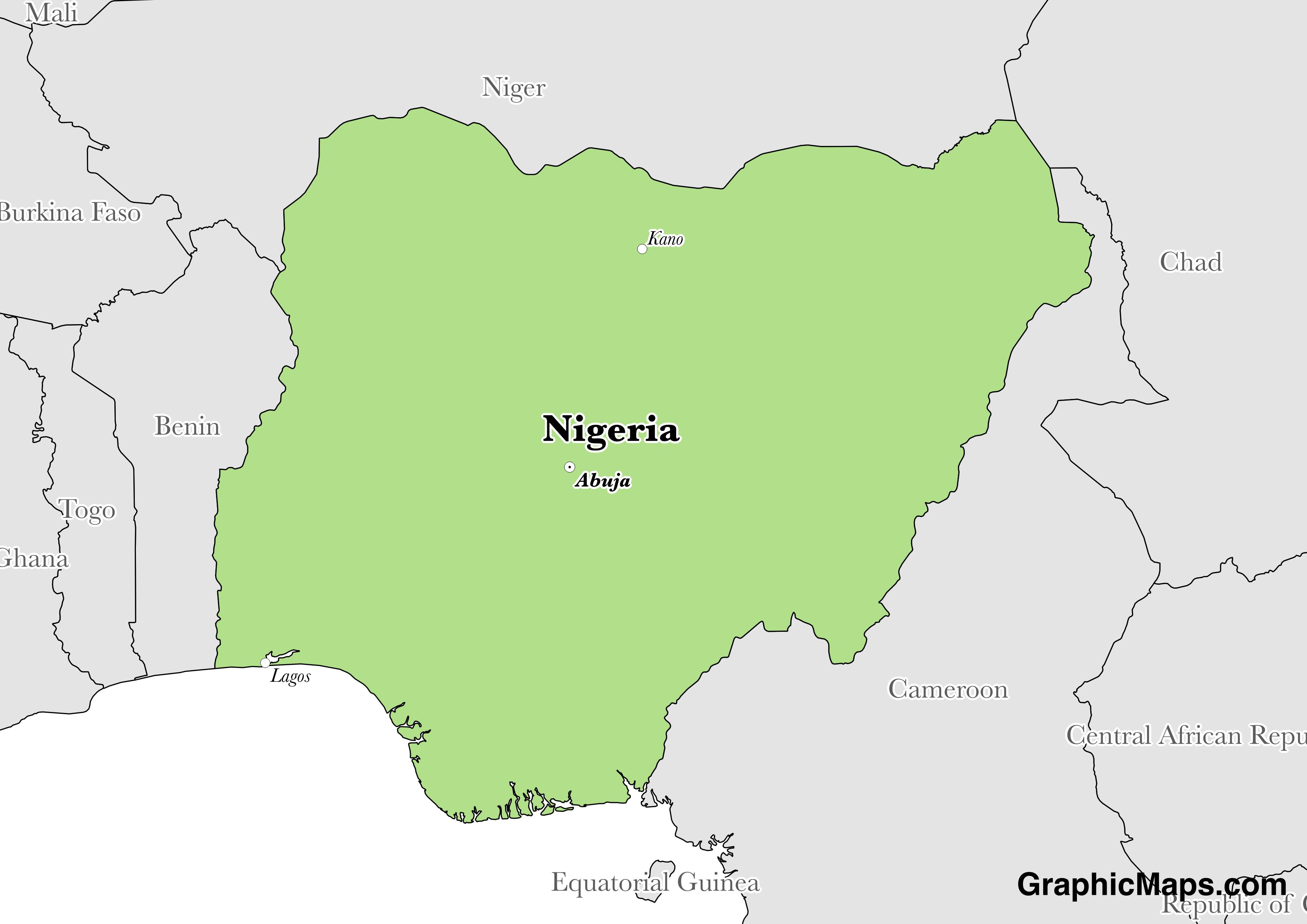 Map showing the location of Nigeria