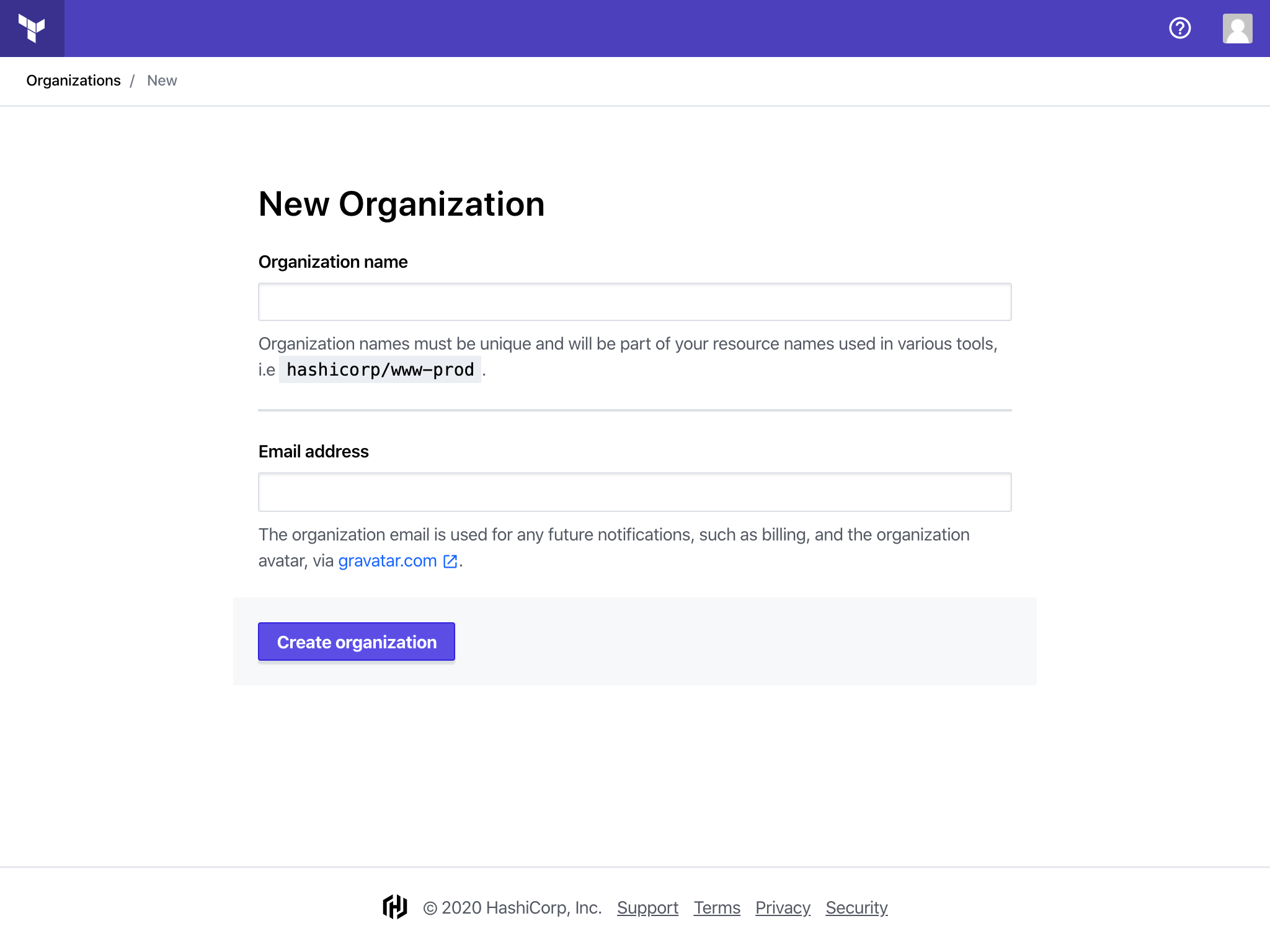 Create Organization