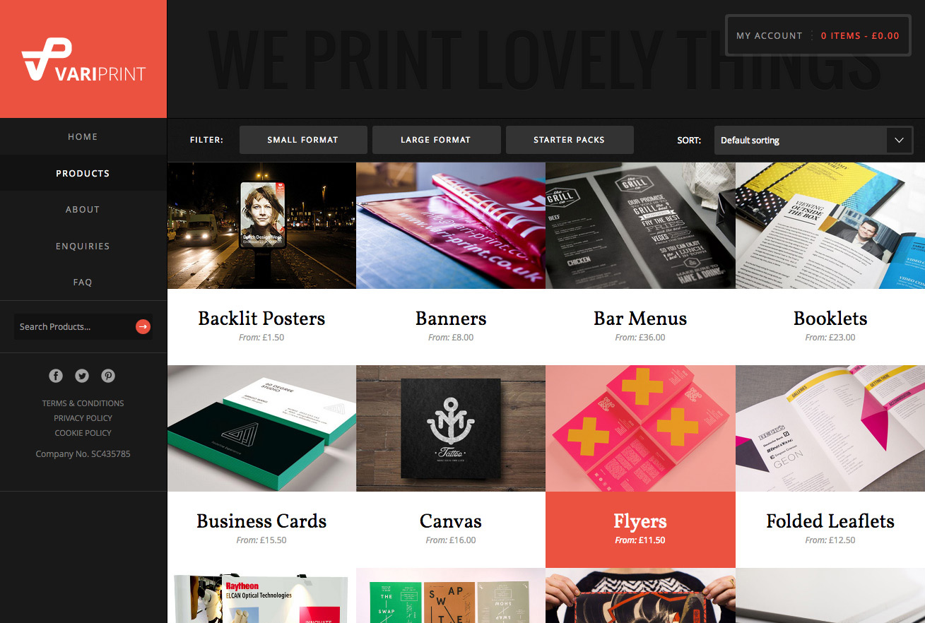 VariPrint products page showing available options in a grid layout with filtering options.