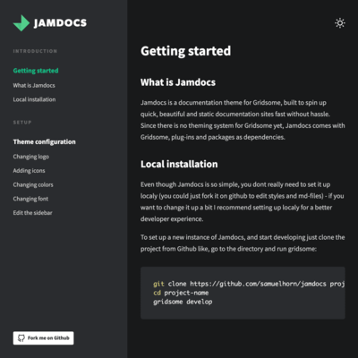 Screenshot of a page created with Jamdocs - a starter for documentations in Gridsome
