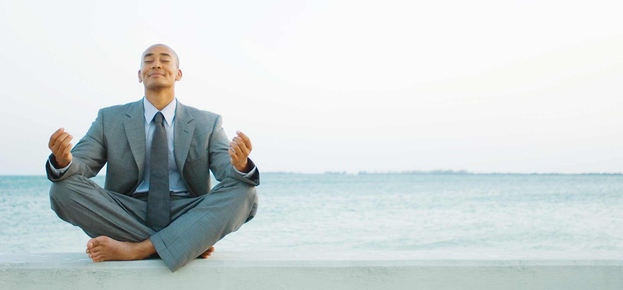 Man practicing mindfullness
