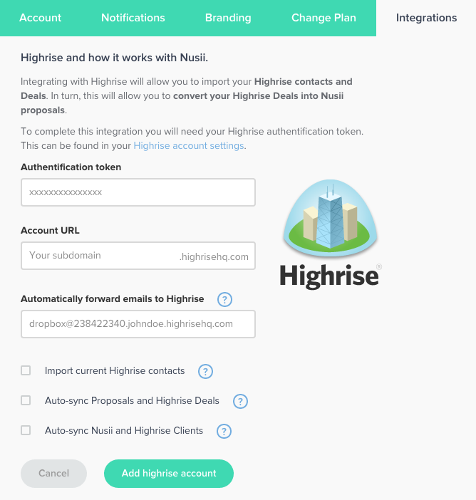 Highrise Authenticate