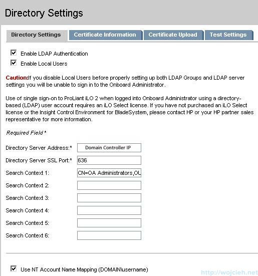 Onboard Administrator Directory Settings