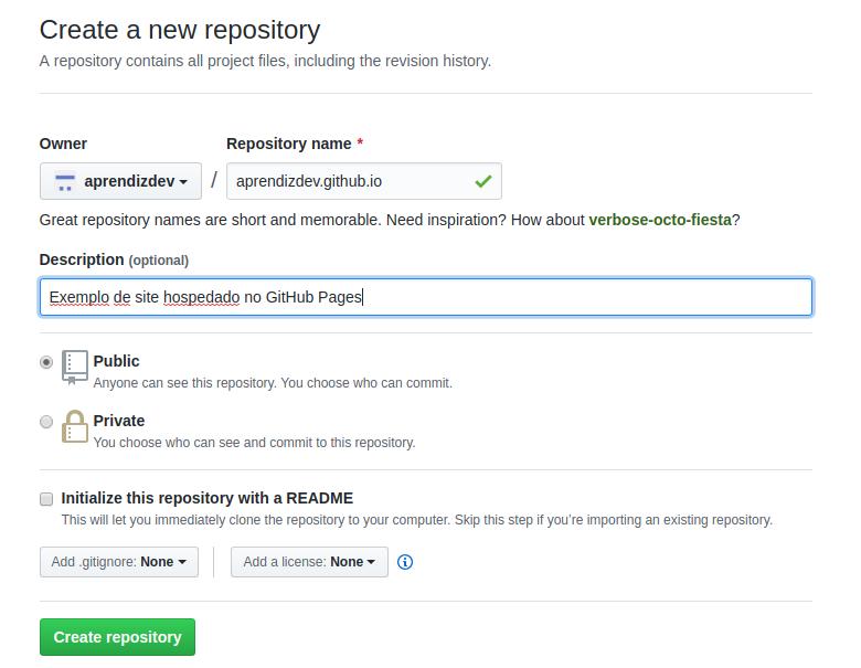 Criando o repositório para o GitHub Pages