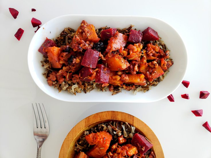 Butternut squash and beet casserole with maple walnuts
