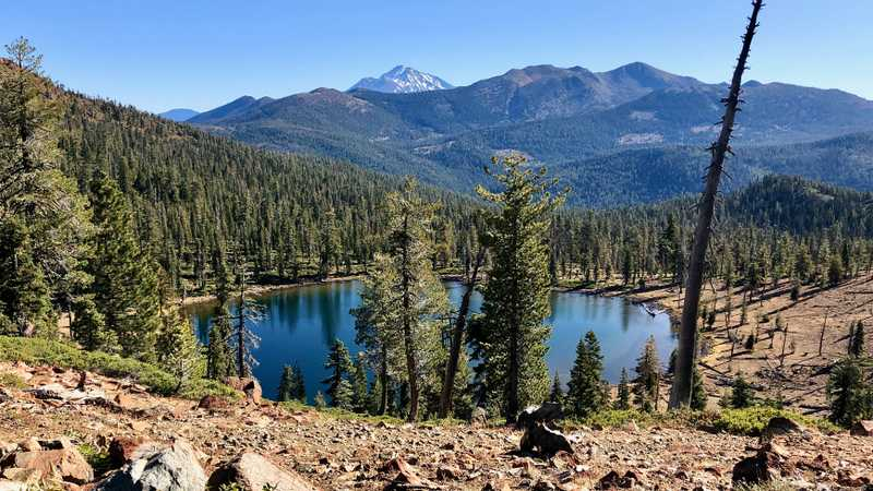 A view of Bull Lake and Mt. Shasta
