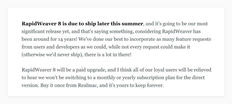 Rapidweaver announcement 2