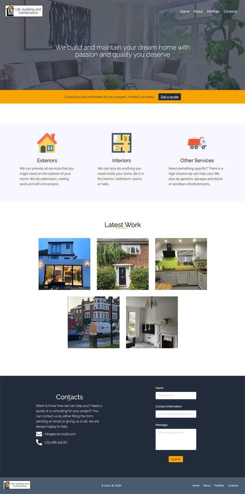 LandL Build Home Page