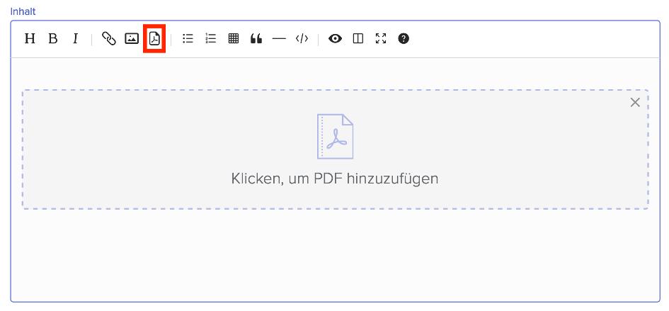 Upload-Möglichkeit eines PDFs in einen Artikel