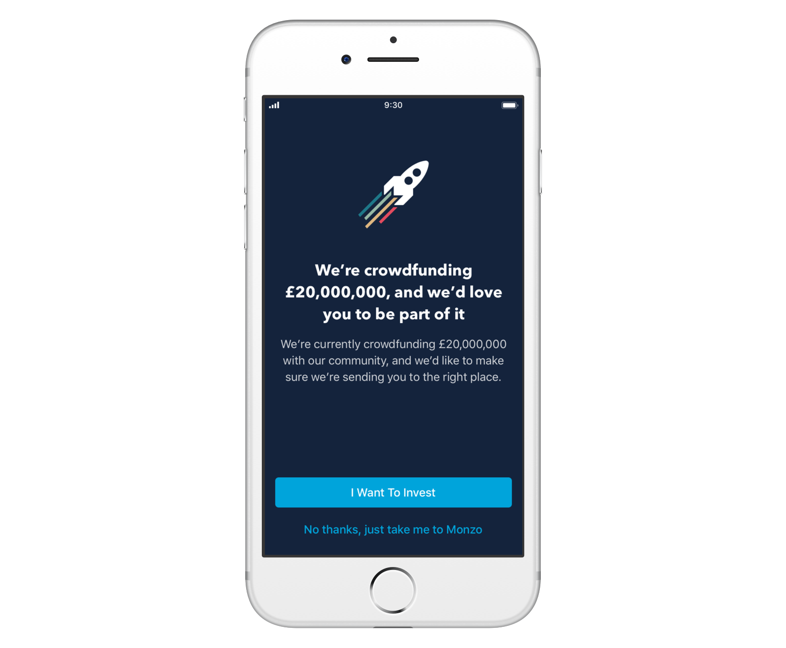 Screen in the Monzo app asking if customers came to invest or use the Monzo app as usual