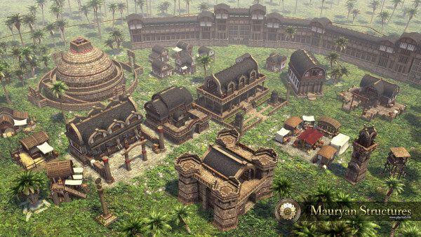 A screenshot of 0 A.D. showing the Mauryan civilisation