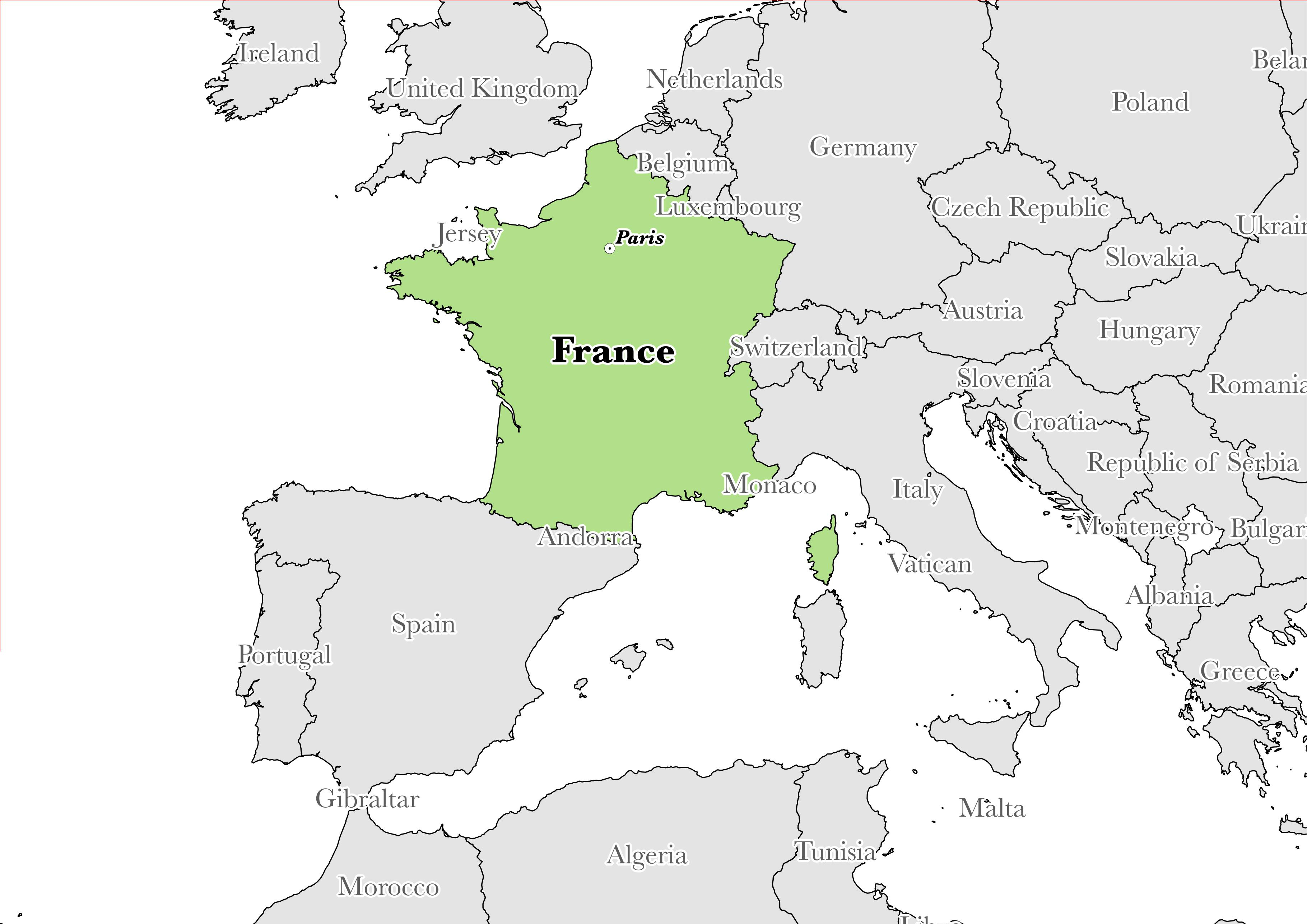 Map showing the location of France