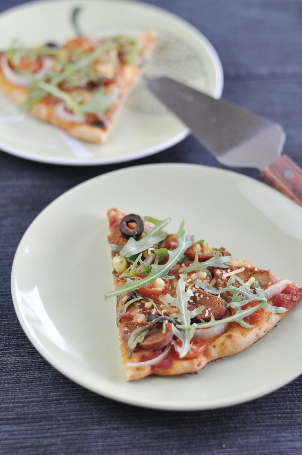 Quick Yeast-free Vegan Pizza with Chorizo and Onion