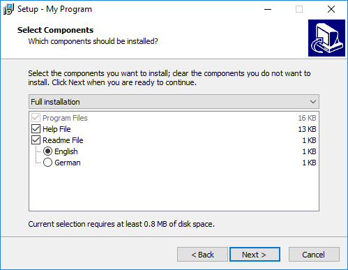 Components-based installation dialog