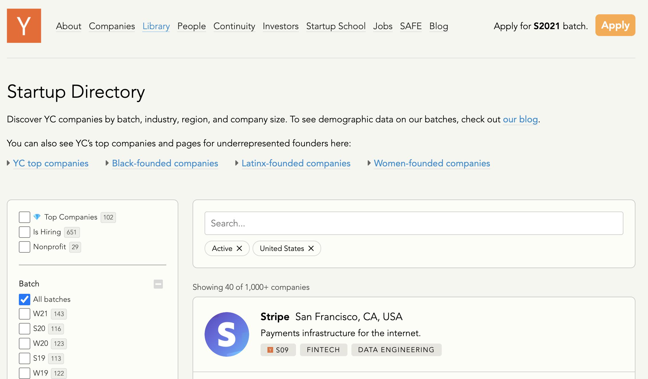 Y Combinator startup directory