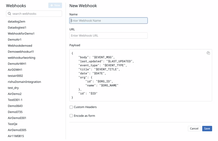 The fields required for creatign a webhook in Datadog.