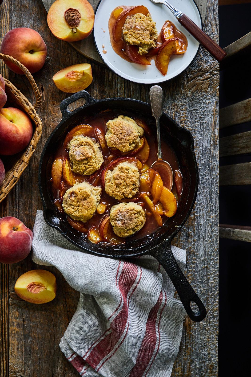 Grilled Skillet Peach Cobbler