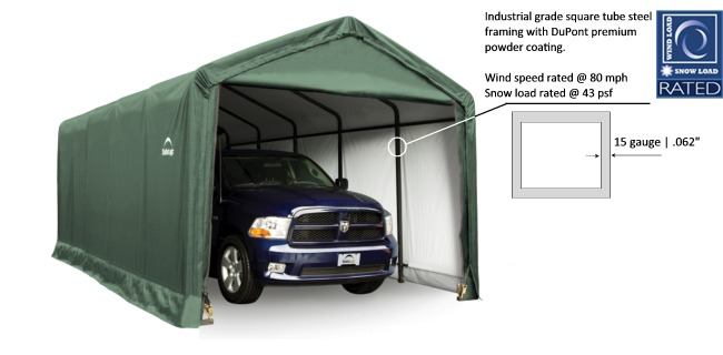 Shelter logic shelters heavy duty temporary car shelters canada the sheltertube garage cover is a polyethylene fabric that is 100 waterproof and uv treated to withstand the elements and protect your property solutioingenieria Choice Image