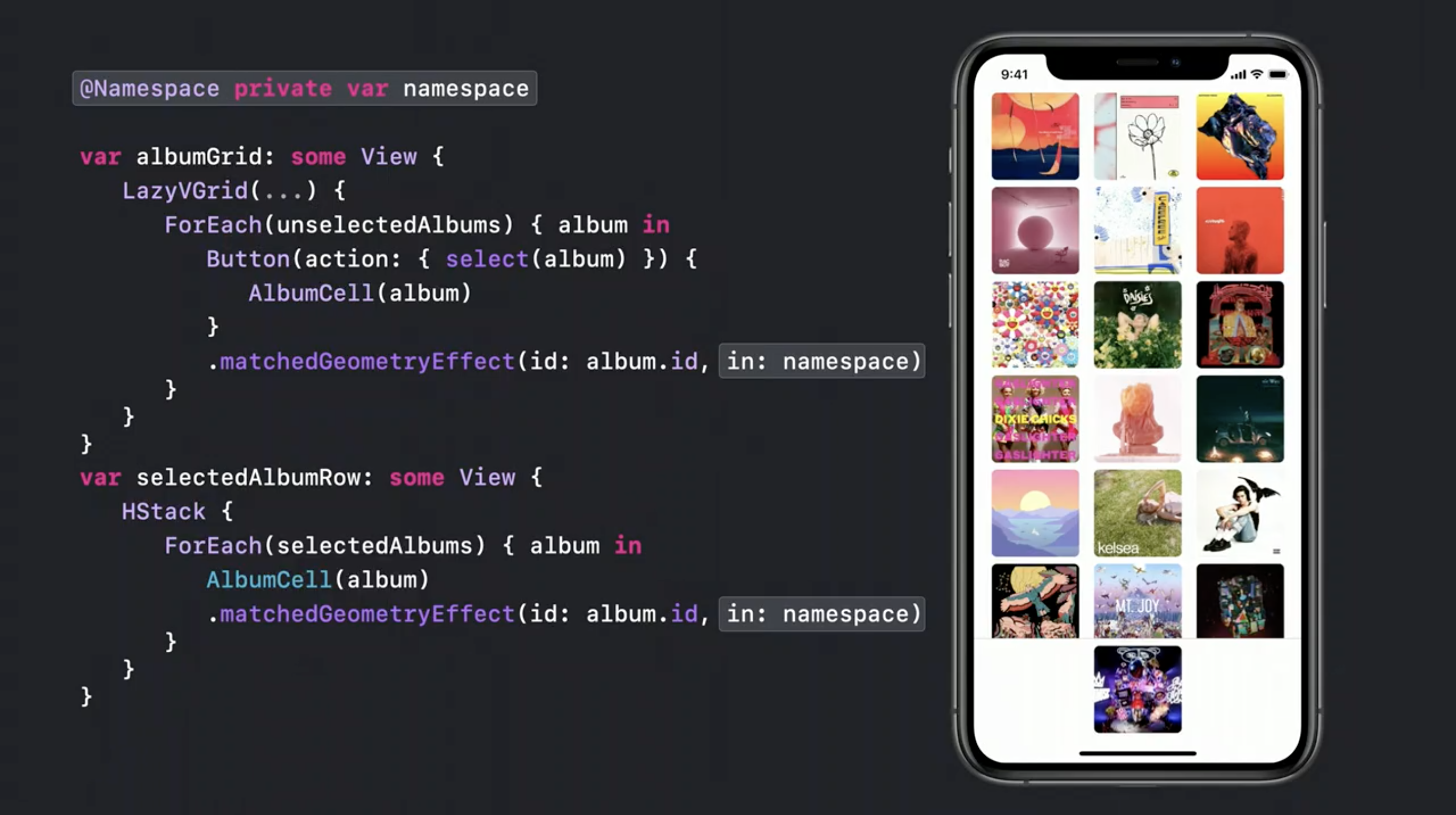 matchedGeometryEffect is WWDC20's session