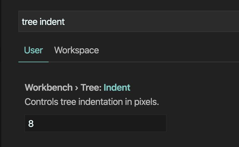 เปิด settings หาคำว่า tree indent