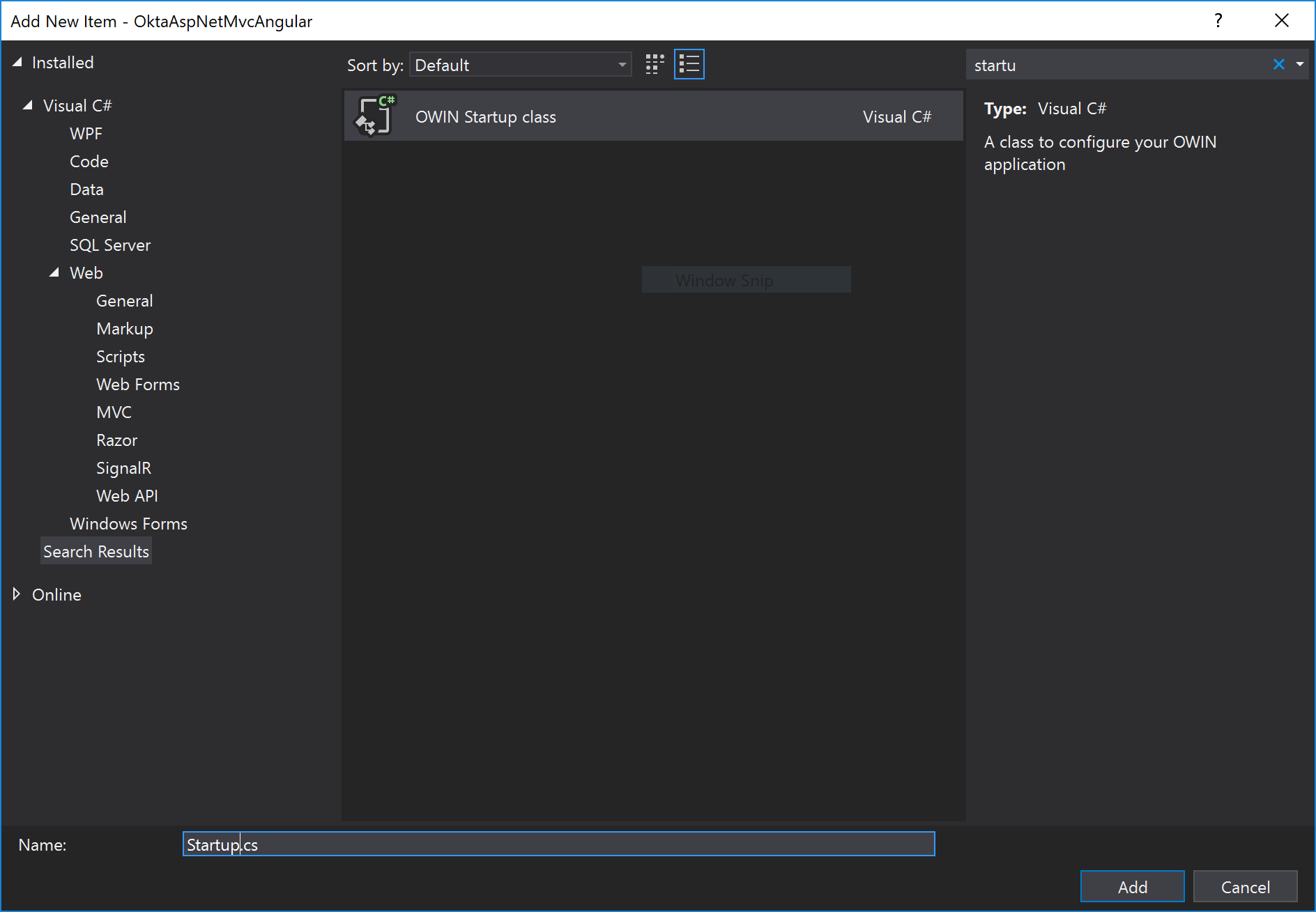 visual studio add owin startup