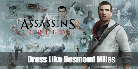 Desmond Miles often wears a white hoodies jacket with a blood red color on the inside, both colors mimic a color palette of his ancestors' uniform, with a basic pair of jeans
